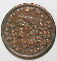 1843 Braided Hair Large Cent 1¢ Highly Circulated