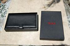 Large Tumi Black Leather Wallet checkbook credit cards bifold men's women's NWOT