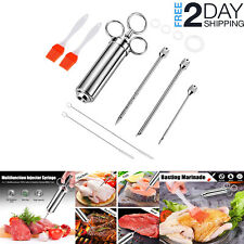 Stainless Steel Meat Marinade Flavor Injector Kit Kitchen BBQ Grill Cooking Tool