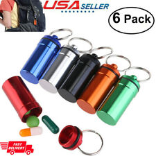 6pcs Pill Box Bottle Holder WaterProof Aluminum Container Keychain Medicine Case