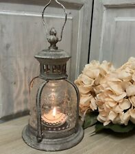 Old Style Coche Glass Metal Lantern Fleur de Lys Vintage French Country Candle