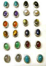Handmade 925 Sterling Silver Plain Stud Ear Rings with Real Oval Gemstones