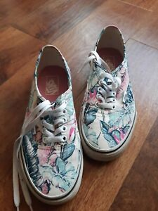 Womens vans trainers size 6 white floral design