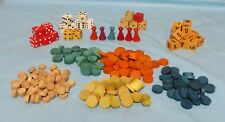 MIXED LOT OF COLORED WOODEN ROUND CHIPS DICE & GAME PIECES Arts and Crafts 229pc