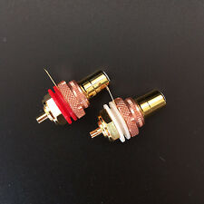 2Pcs Copper Gold Plated RCA Phono Female Chassis Panel Mount Socket Connector