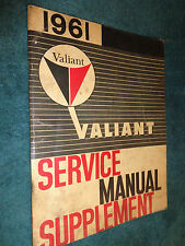 1961 PLYMOUTH VALIANT SHOP MANUAL / ORIGINAL MOPAR / USED WITH THE 1960 BOOK