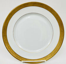 "Limoges France Jean Boyer White 22KT Gold Encrusted Band Dinner Plate 9.5"""