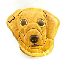 Puppy Dog Wooden Puzzle Box Intarsia Wood Decorative Jewelry Trinket Box