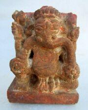 Antique 1850's Old Hindu God Ganesha Figure Carved Brown Stone Worship Statue