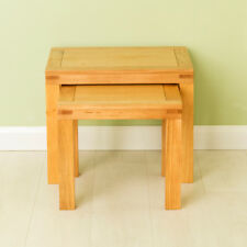 Abbey Waxed Oak Nest of Tables Set of 2 Solid Wood Nested Stackable Side Coffee