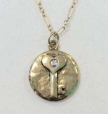 NWT Mad Coin Rachel Abroms Antique Gold Swarovski Crystal Key Pendant Necklace