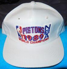 9d19616aebe VTG 1989 DETROIT PISTONS WORLD CHAMPIONS SNAPBACK CAP HAT WHITE NEW