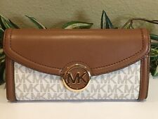 MICHAEL KORS FULTON LARGE FLAP CONTINENTAL WALLET VANILLA SIGNATURE LEATHER $228