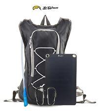 Hydration Backpack Solar Set – Water Bladder 2L- Solar Panel USB - BLACK LeWave