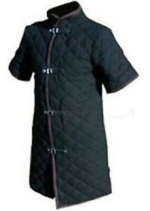 Halloween Gift Thick Black Viking Gambeson Medieval Collar Short Sleeves Armor