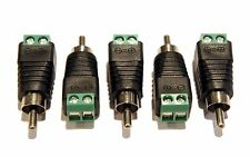 (5) Pack of Male RCA socket plugs to bare wire 2 pin screw down terminal