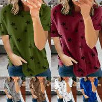 Womens Summer Crew Neck Short Sleeve T Shirt Star Print Blouse Casual Tee Top