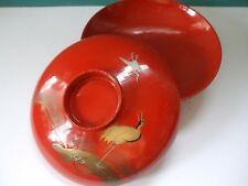 Hand painted Red Crane Lacquerware Bowl 4.25