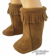 """Hippy Brown Suede Moccasin Boots for 18"""" American Girl Doll Clothes Halloween"""