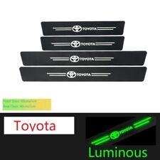 4 Pcs Car Logo Threshold Protection Sticker Luminous Carbon Fiber Fit All Cars