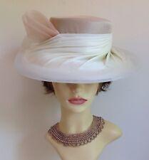 Formal Hand Made Ivory & Oatmeal Dress Hat Wedding Church Races
