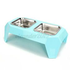 Pet Dog Cat Double Stainless Steel Raised Bowls Water Food Feeder Dish Stand