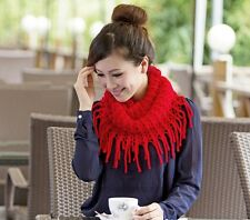 Women Warm Infinity 2 Circle Cable Knit Cowl Neck Tassel Scarf Shawl Winter Lady