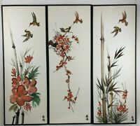 Vintage Asian Watercolor Pictures Oriental Bamboo Birds Signed Lot of 3