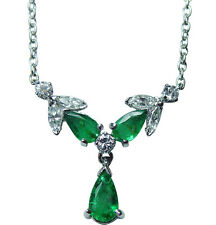 Vintage 18K White Gold Emerald Marquise Diamond Dangling Necklace  Estate