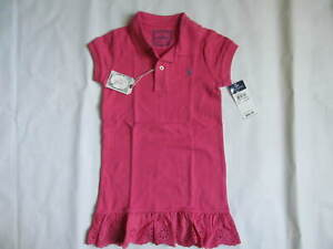 NWT Ralph Lauren Stretch Mesh Polo Eyelet Dress Pink Size 4