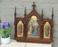 Antique Neo gothic religious Tryptique oil panel angel Gabriel mary Annunciation