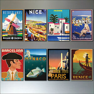 8 Vintage Travel Posters Fridge Magnets from Art Deco Period Retro repro No.3