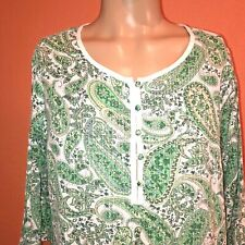 A Pea In The Pod 3/4 Sleeve Sheer White And Green Tunic Maternity Blouse   M / L