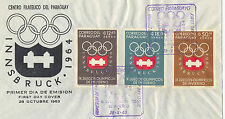 OLYMPIC 1964 Innsbruk First Day Cover Paraguay Issues