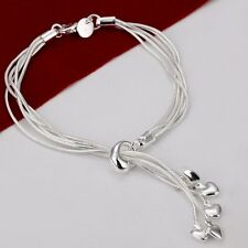 925 Silver Plated Five Chains & Hearts Bracelet Bangle Women Jewelry *UK Seller*