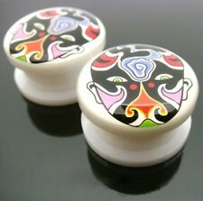 PAIR 00G 10MM TATTOO FACE THREADED DOUBLE FLARED PLUGS