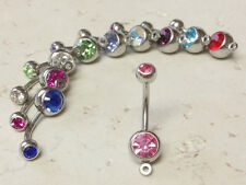 10pc Add-A-Charm Gem Belly Rings 14g Naval Navel 316L Surgical Steel 11mm 14g