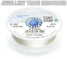 """GRIFFIN SILVER PLATED STEEL BEADING JEWELRY WIRE .024"""" / 0.60mm 30 FT 19 STRAND"""