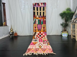 "Handmade Moroccan Boujad Runner Rug 2'3""x11' Patchwork Colorful Wool Berber Rug"