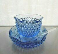 Mayonnaise Bowl Condiment Bowl Indiana Glass Diamond Point Ice Blue Bowl