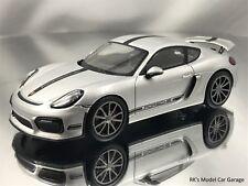 Schuco Porsche Cayman GT4 Silver Diecast Model Car 1/43