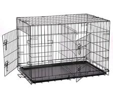 """Pet Folding 24"""" Suitcase Dog Cat Crate Cage Kennel 2 Doors Black ABS Tray New"""