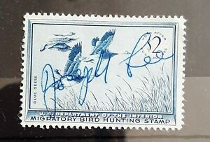 RW22 US Duck Hunting Permit  License US stamp 1955. Fair Used condition