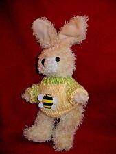 """Hugfun Intl 1999 - Bunny Rabbit w/ Yellow Bumble Bee Sweater  8"""" + ears  Jointed"""