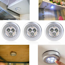 3 LED Touch Night Light Home Kitchen Under Cabinet Closet Push Tap Stick On Lamp