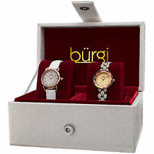New Women's Burgi BUR133RG Rose-tone Quartz Swarovski Crystal Leather Watch Set