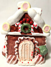 Gingerbread House Ceramic Christmas Cookie Jar Candy Canes Cupcakes Icing