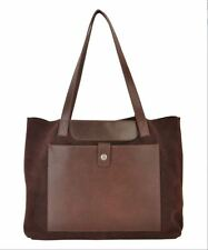 NWT Most Wanted USA Leather Suede Hamilton Tote Shopper Handbag Purse Brown $140