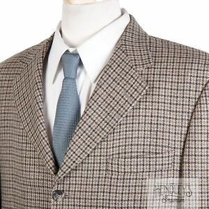 BURBERRY LONDON Sport Coat 42 S in Taupe Brown Herringbone Check Wool-Cashmere