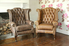 Pair of Chesterfield Queen Anne High Back Wing Chairs in Vintage Leather